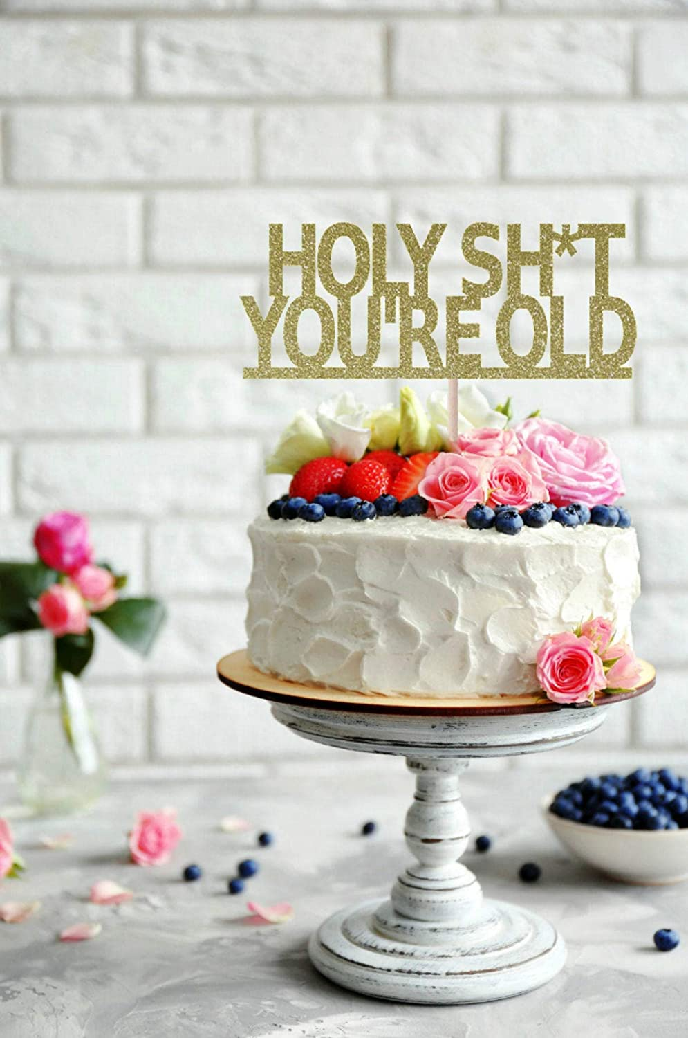 Terrific Holy Shit Youre Old Cake Topper Birthday Cake Topper Over The Funny Birthday Cards Online Sheoxdamsfinfo