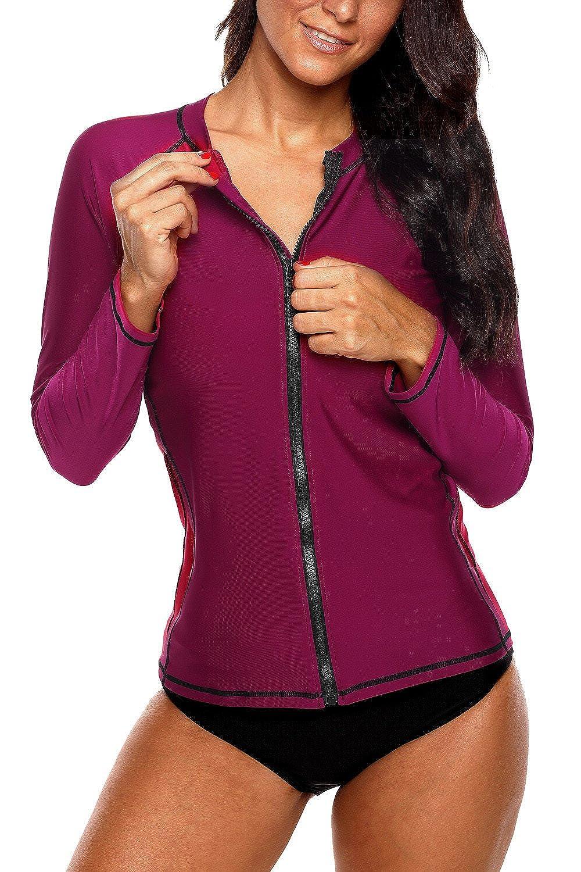 Sociala Women's Zip Front Long Sleeve Rashguard Top UV Sun Protection Swim Shirt