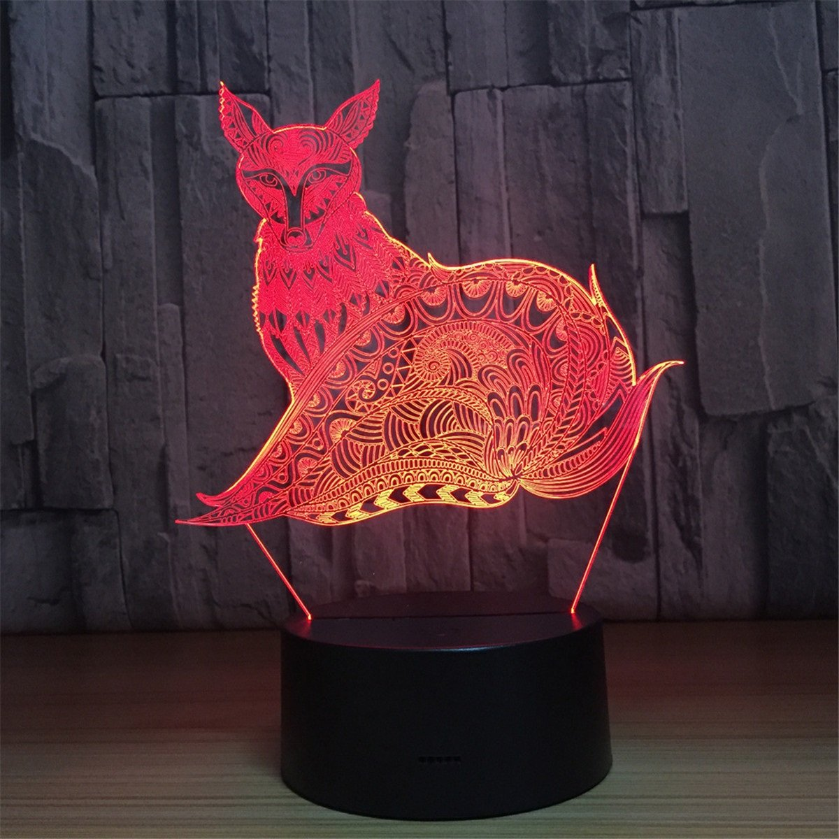 Fox 3d Touch Optical Illusion Night Light Stunning Visual 3次元効果7色ChangingテーブルデスクDecoランプ寝室子供部屋装飾Nightlight for Kids B078MJ2V9N