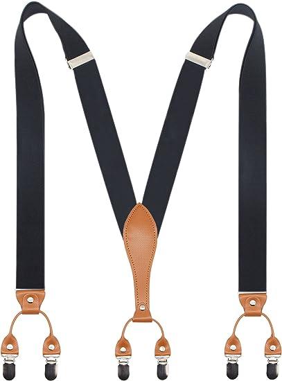 Mens 35mm Wide Strong Metal Clip Adjustable Elastic Spotted Suspenders Braces