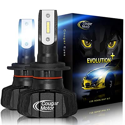 Cougar Motor H7 Led headlight bulb, 9600Lm 6500K Fanless Conversion Kit - 3D Bionic Technology, 360°Adjustable Beam: Automotive