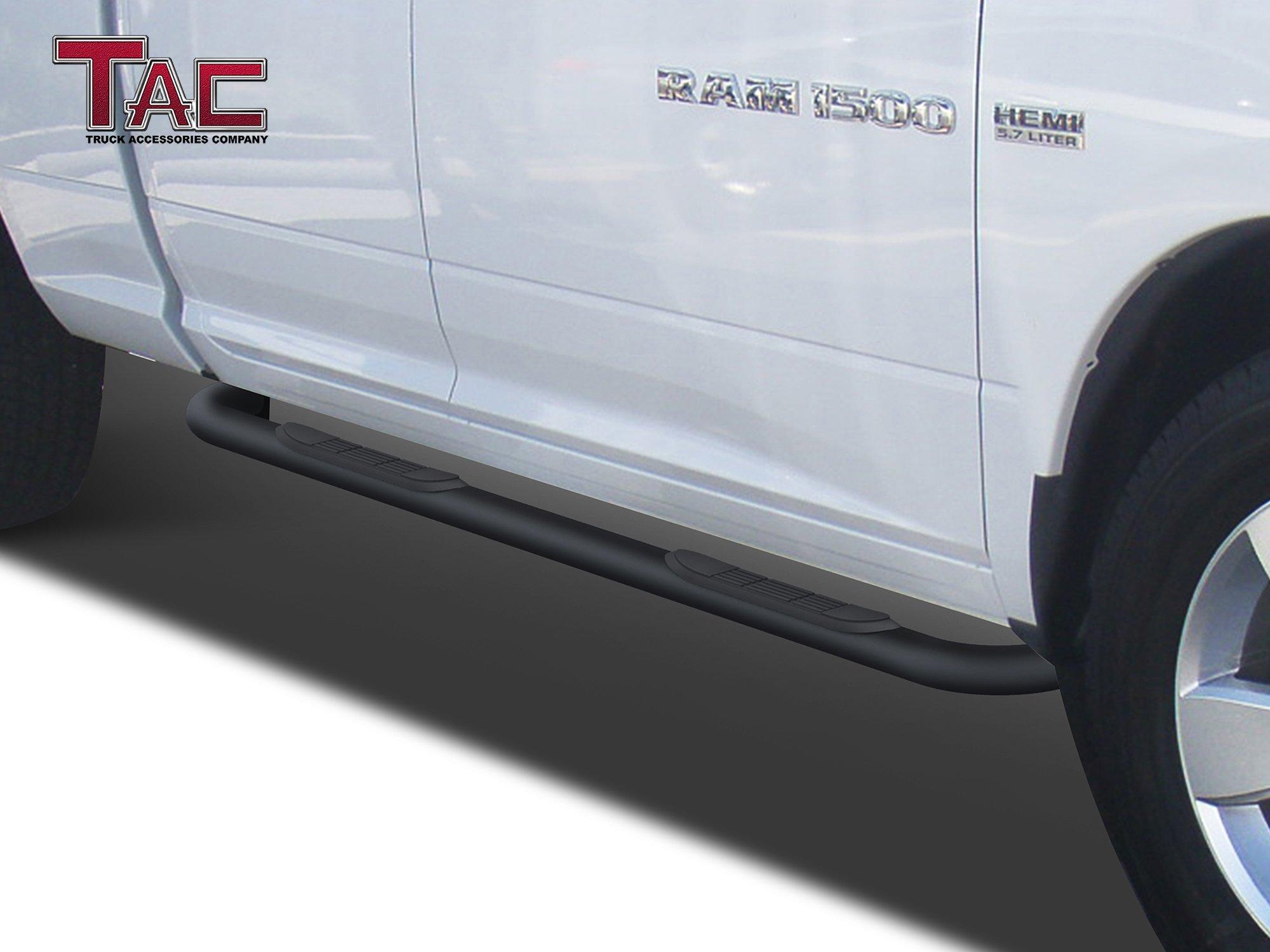 TAC Side Steps Fit 2009-2018 Dodge Ram 1500 Quad Cab Truck Pickup 3'' Black Side Bars Nerf Bars Step Rails Running Boards Off Road Exterior Accessories (2 Pieces Running Boards) by TAC TRUCK ACCESSORIES COMPANY (Image #2)