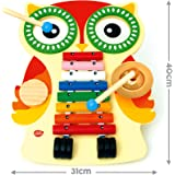 Bee Smart — Wooden Musical Instruments for babies - Musical Table incl. Xylophone, 2 Drums, Cymbal, Guiro and 2 Beaters - Music set for toddlers