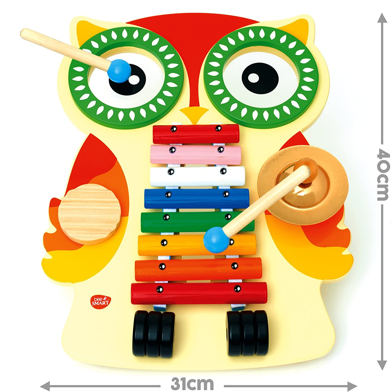 Instrument de Musique - Table Musicale en bois - un xylophone, deux tambours, une cymbale et un guiro Bee Smart WMO001