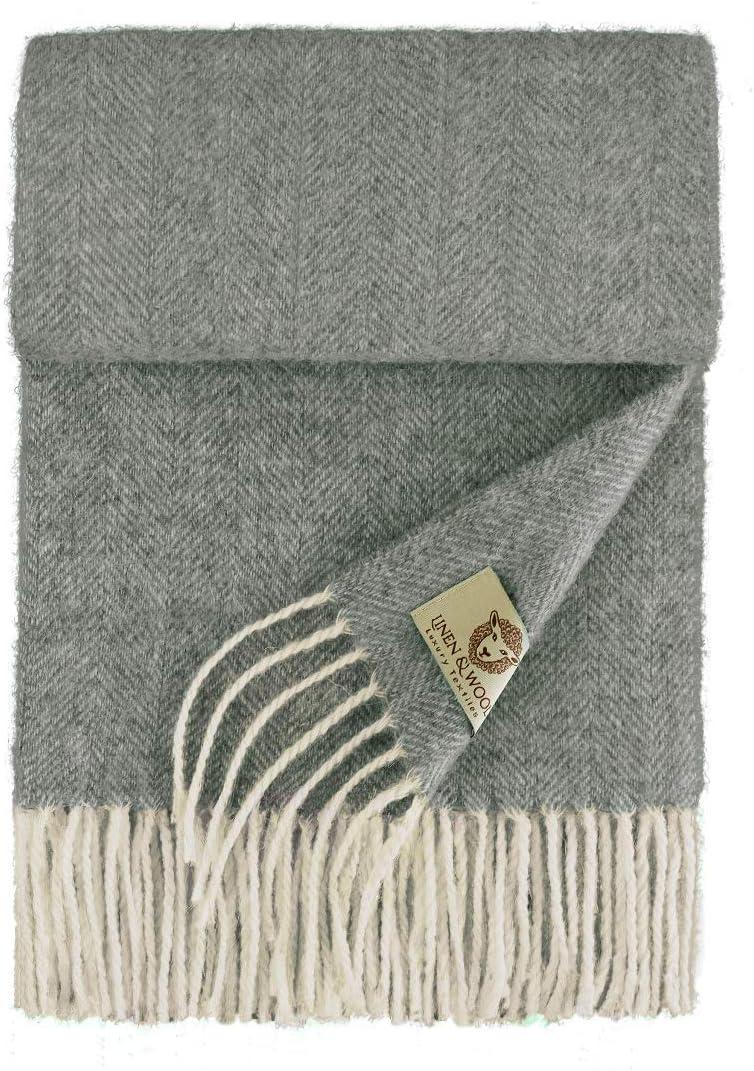 /Übergangsschal Langschal 34 x 200cm Braun//Natur Stola Schal Tuch Winterschal 100/% Weicher Merino Wolle Linen /& Cotton Hochwertiger Warmer Schal Wollschal Classico f/ür Damen Herren Halstuch