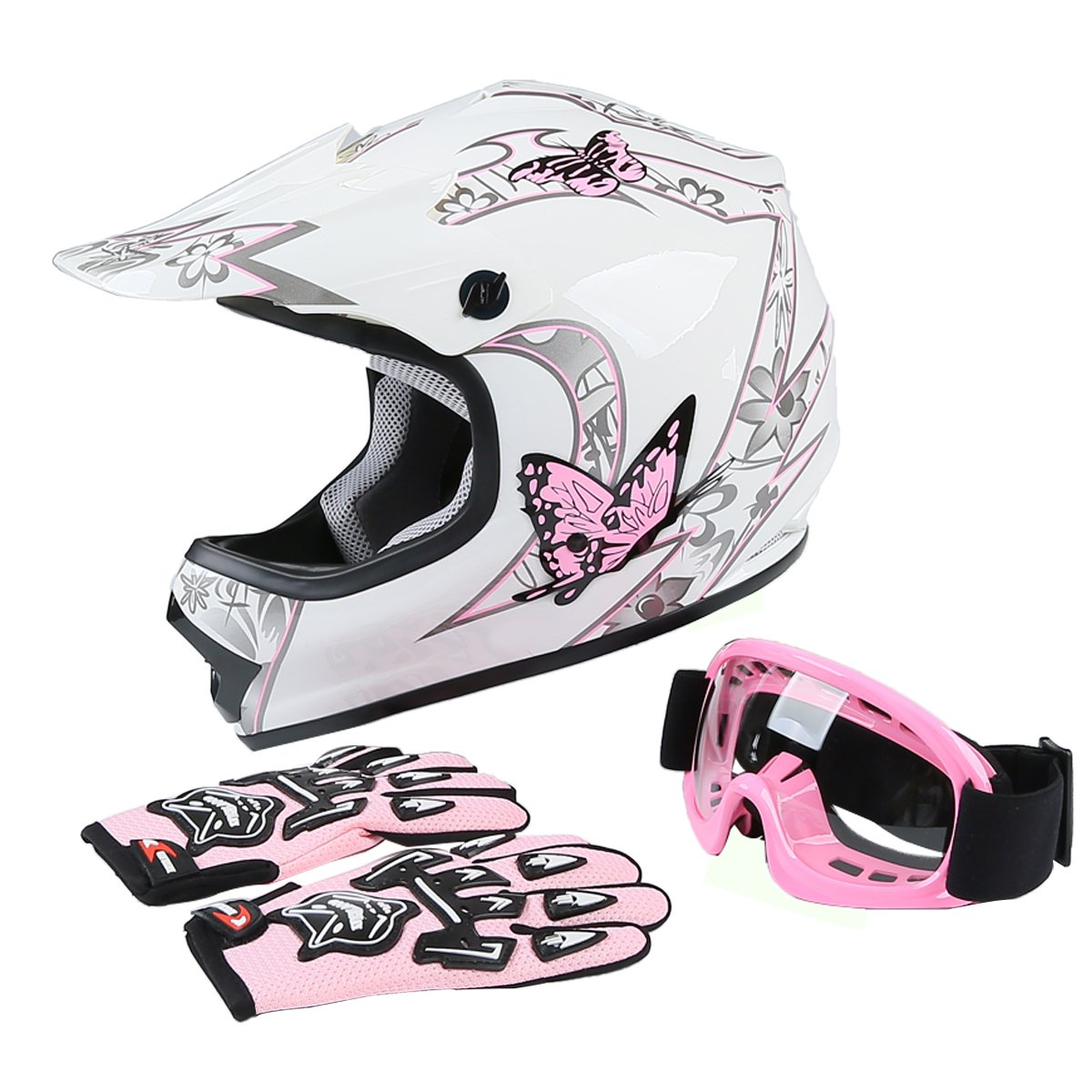 Tengchang Youth Kids Motocross Offroad Street Dirt Bike Helmet Goggles Gloves Atv Mx Helmet Pink Butterfly