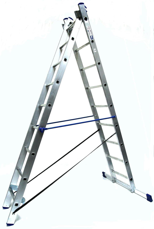 Aluminium Alu-Schiebeleiter 2x12 Stufen//Sprossen, Marke: Szagato 325x41x12cm Mehrzweckleiter//Stehleiter, Anlegeleiter, Aluleiter, Kombileiter, Leiter 2in1