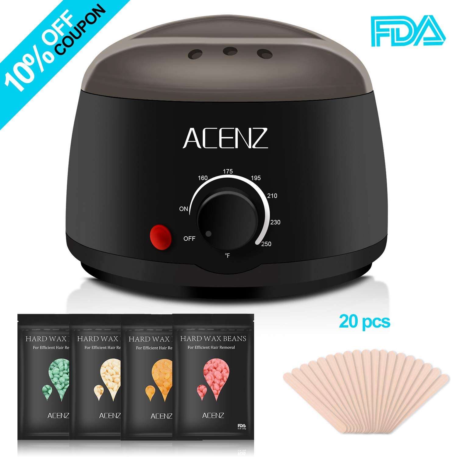 Waxing Kit, ACENZ Wax Warmer for Hair Removal, Hard Wax Kit for At Home Waxing with 4 Flavors Hard Wax Beans and 20 Wax Applicator Spatulas (Upgraded Version)