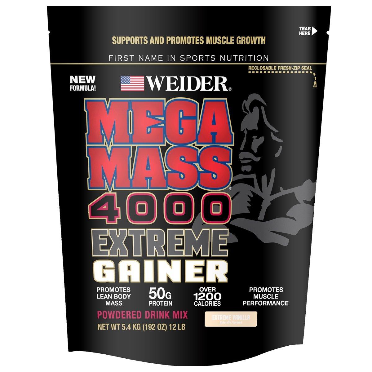 Weider Megamass 4000 Weight Gainer, Extreme Vanilla, 12.1 Pound