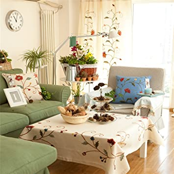 Eanshome Europäischen Country Style Creme Mehrzweck Tischdecken  Handgefertigt Bestickt Tisch Cover, Textil, Cremefarben