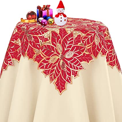 Beau Amazon.com: QXFSMILE Christmas Poinsettia Tablecloth Sequins Table Cover  Square 36 Inch: Home U0026 Kitchen