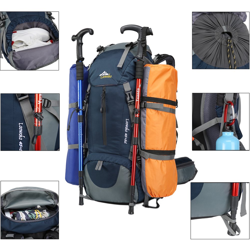 Loowoko Hiking Backpack 50L Travel Camping Backpack with Rain Cover for Outdoor Traveling (Dark Blue) by Loowoko (Image #3)