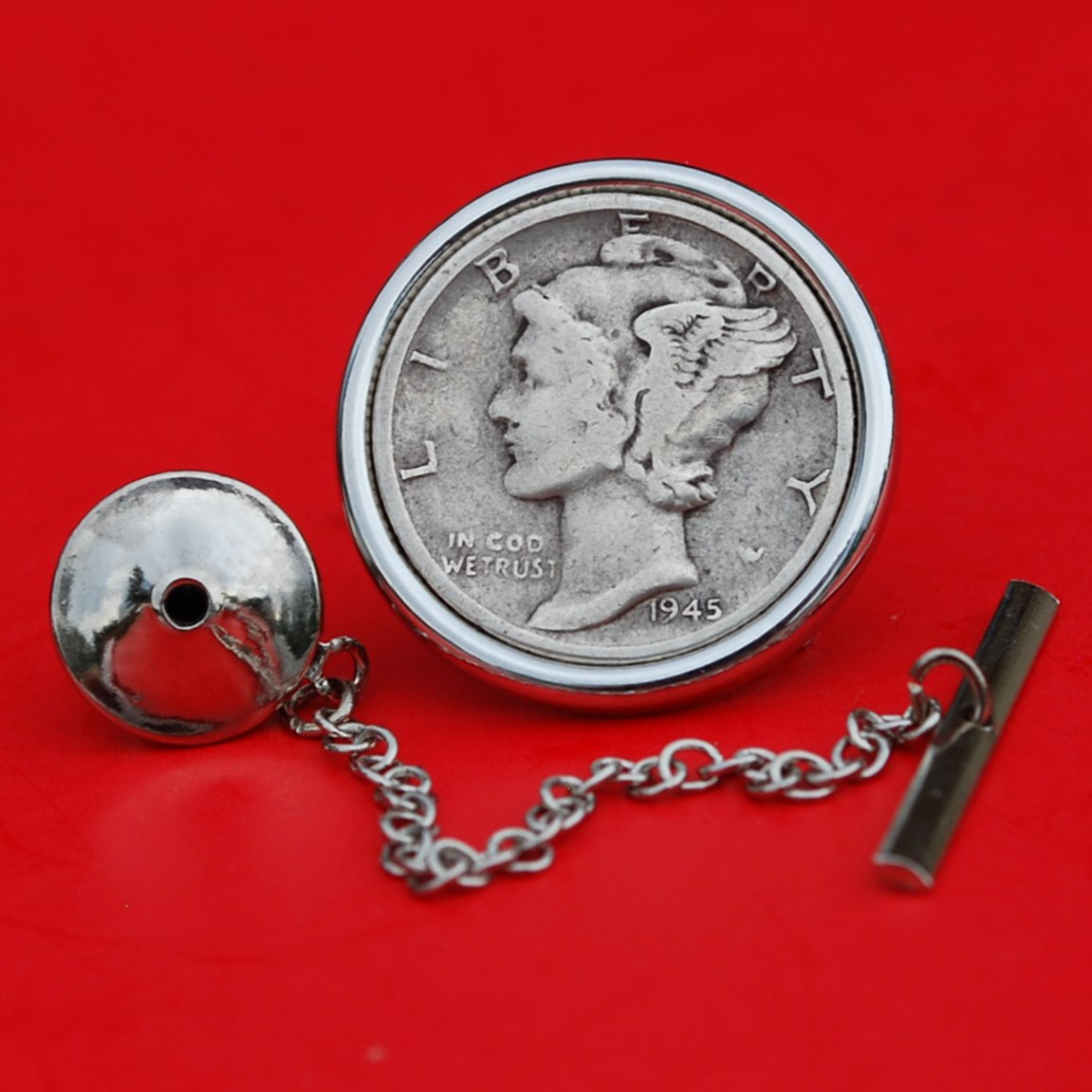 US 1945 Mercury Dime 90% Silver 10 Cent Coin Silver Plated Tie Tac Tack Pin NEW