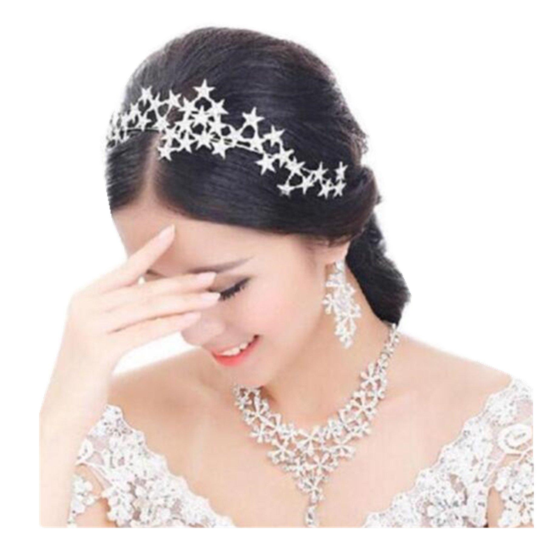 Wiipu Bride Wedding Crystal Rhinestone Star Crown Hair Accessories(N432) (1#-star)