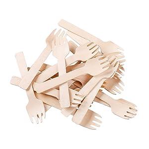 "Gmark Eco-Friendly 4"" Mini Wooden Spork 100 ct, Biodegradable Compostable Birchwood Fork Spoon 2-in-1 Utensil (100pcs/bag) GM1058A"