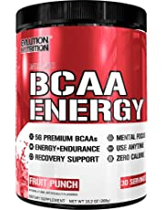 Evlution Nutrition BCAA Energy - High Performance, Energizing Amino Acid Supplement for Muscle Building, Recovery, and Endurance, 30 Servings (Fruit Punch)