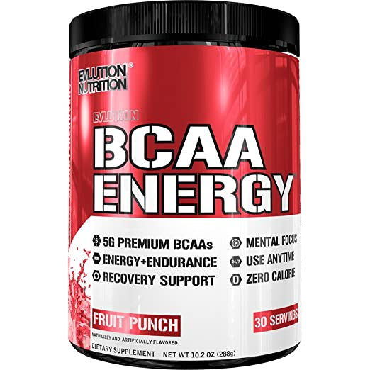 Evlution Nutrition BCAA Energy - High Performance Amino Acid Supplement for Anytime Energy, Muscle Building, Recovery & Endurance, Pre Workout, Post Workout (Fruit Punch, 30 Servings) best BCAA powder