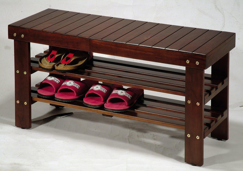 amazon com wooden shoe bench home u0026 kitchen
