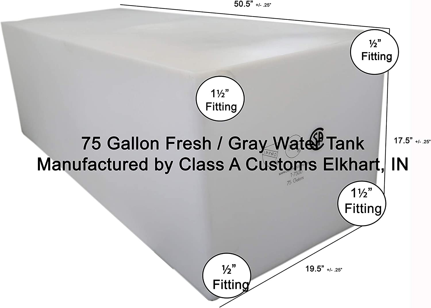 Class A Customs 65 Gallon Fresh Water Holding Tank NSF//FDA Approved BPA Free T-6500