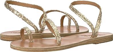 6ddb9dc3e96cd8 Ancient Greek Sandals Women s Apli Eleftheria Platinum Nude Micro Sequins  36 ...