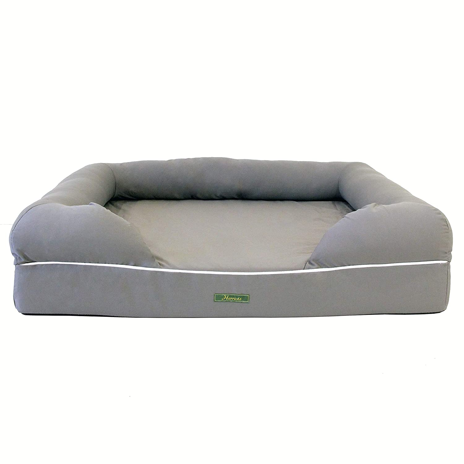 Herriots Memory Foam Dog Bed XX-Large (127cm x 102cm x 33cm) Orthopaedic Mattress (GREY) Waterproof Spare Covers & Blankets Available