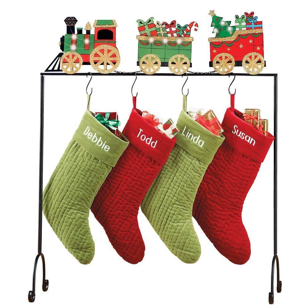 Nantucket Home Light Up Toy Train LED Freestanding Christmas Stocking Holder