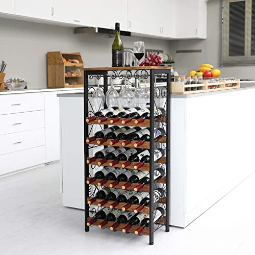 X-cosrack Rustic 30 Bottles Floor Wine Rack Shelf
