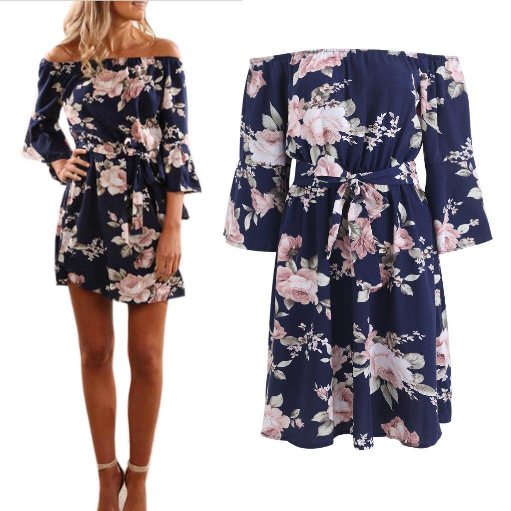NNDA CO Women Ruffle Summer Beach Floral Print Off the Shoulder Swing Short Dress ,Aramid Fiber,1 Pc (XL)