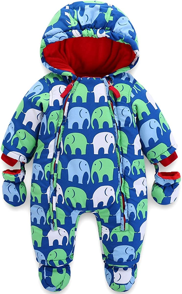 Baby Winter Hooded Romper Snowsuit with Gloves Booties Outfits 3-24 Months