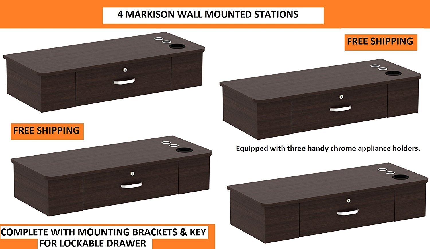 MULTI Styling Stations 4 MARKISON BROWN Wall Mount Station for Beauty Salon Styling Spa