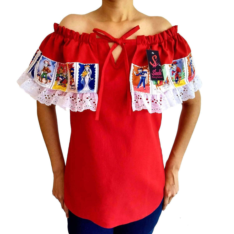 Blusa Campesina Mexicana Dia de Muertos Loteria Halloween ...