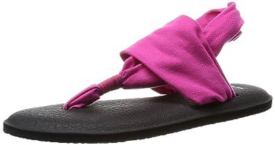 Sanuk Womens Yoga Sling 2 Flip Flop, Magenta, 8 M US
