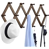 OROPY Wooden Expandable Coat Rack Hanger, Wall Mounted Accordion Pine Wood Hook for Hanging Hats, Caps, Mugs, Coats, Walnut C