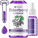 True Recovery Organic Elderberry Liquid - 200mg of Powerful Antioxidants and Immune System Support. Zero Added Sugar, Non-GMO