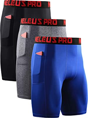 Neleus Men's 3 Pack Compression Short with Pocket