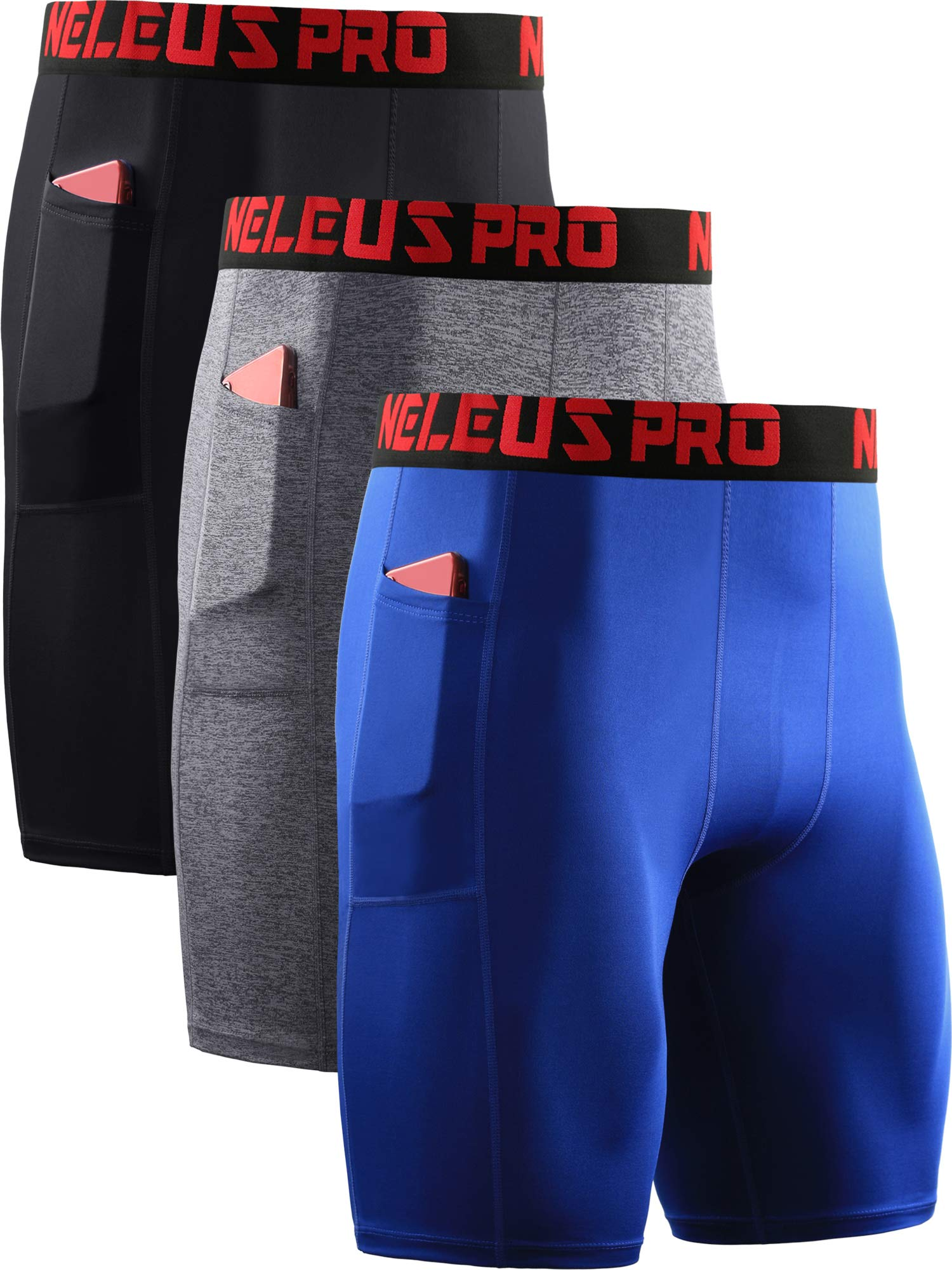 Neleus Men's Compression Shorts with Pockets 3 Pack,6064,Black/Grey/Blue,US L,EU XL by Neleus