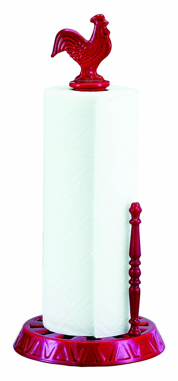Old Dutch 051SR 2-Tone Rooster-Design Standing Paper-Towel Holder, Red