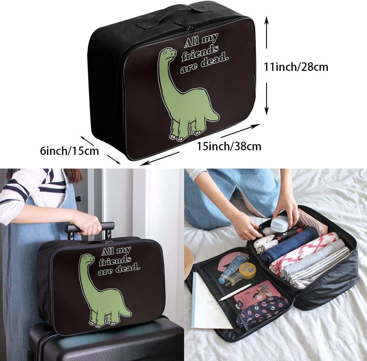 All My Friends Are Dead Dinosaur Carry Lightweight Large Capacity Portable Travel Luggage Trolley Bag