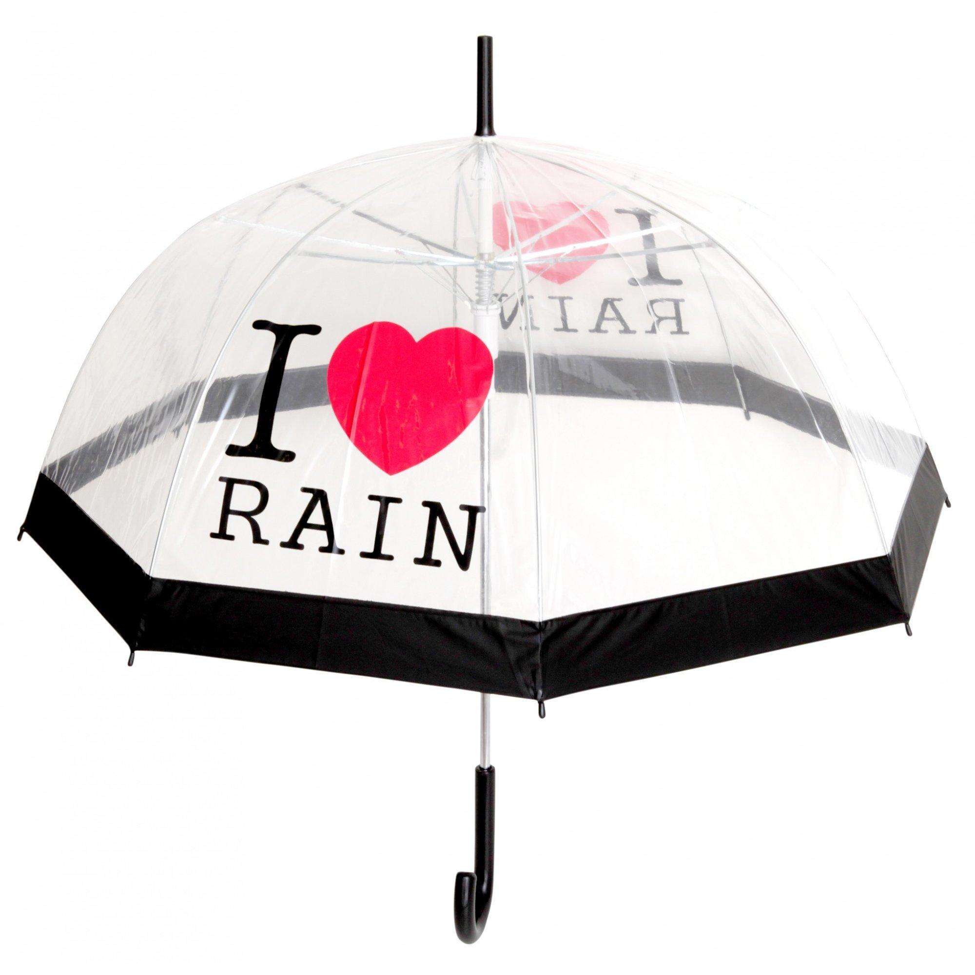 Ladies/Womens I Love Rain Design Automatic Transparent Dome Umbrella (See Description) (Black/Red)