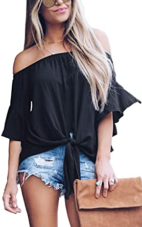 79f1c3f196c6a Hibluco Women s Fashion Off Shoulder Tops Sexy Floral Print Crop Tops Solid  Black