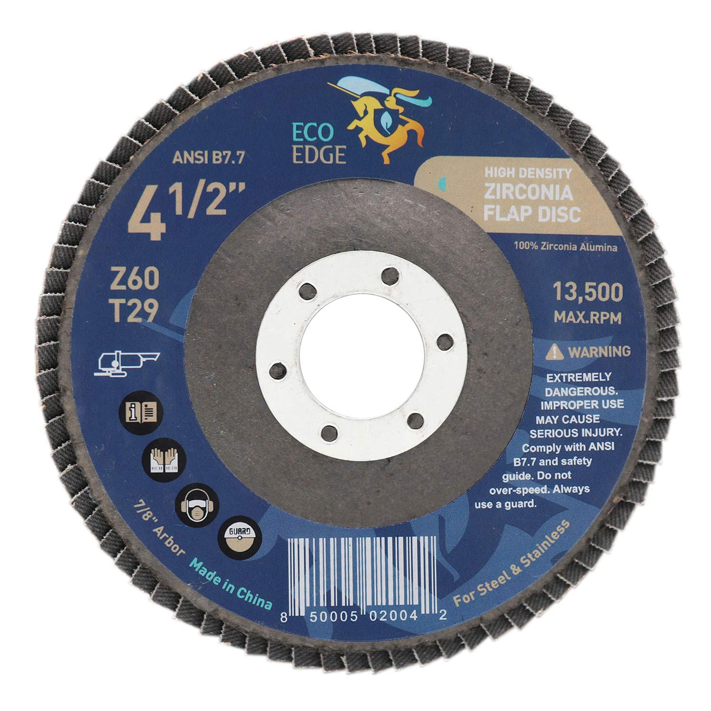 Eco Edge 4.5 x 7//8 Arbor High Density Deluxe Zirconia Abrasive Flap Disc 40 Grit Type 29 Pack of 10