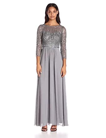 Decode 1.8 Women's 3/4 Sleeve Beaded Illusion Gown With Sequins, Silver, 0