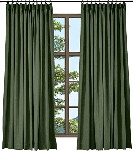 TWOPAGES Hunter Green Linen Cotton Pinch Pleat Drape Window Treatment Drape Elegant Natural Curtain