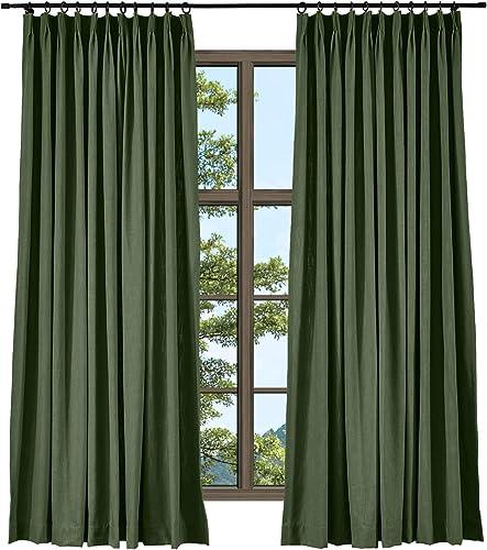 TWOPAGES Hunter Green Linen Cotton Pinch Pleat Drape Window Treatment Drape Elegant Natural Curtain