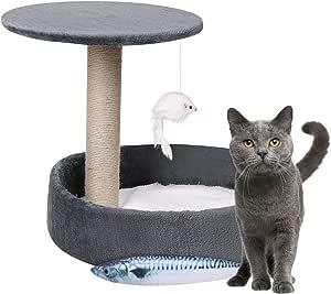 Torre de escalada para gatos con cama para gatos grandes y gatitos de sisal natural Centro de actividades para gatos y gatos con marco de juego ...