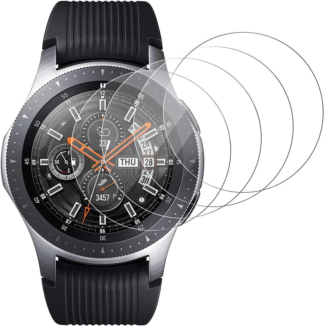 RSSYTZ [4 Unidades Protector de Pantalla para Samsung Galaxy Watch Active 2 46mm [9H Dureza] [Impermeable] [antiburbujas] Cristal Vidrio Templado para Samsung Galaxy Watch Active 2 46mm Watch