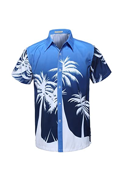 Yacun Hombres Camisas Hawaianas Cartoon Botón Casual Beach Aloha Tops