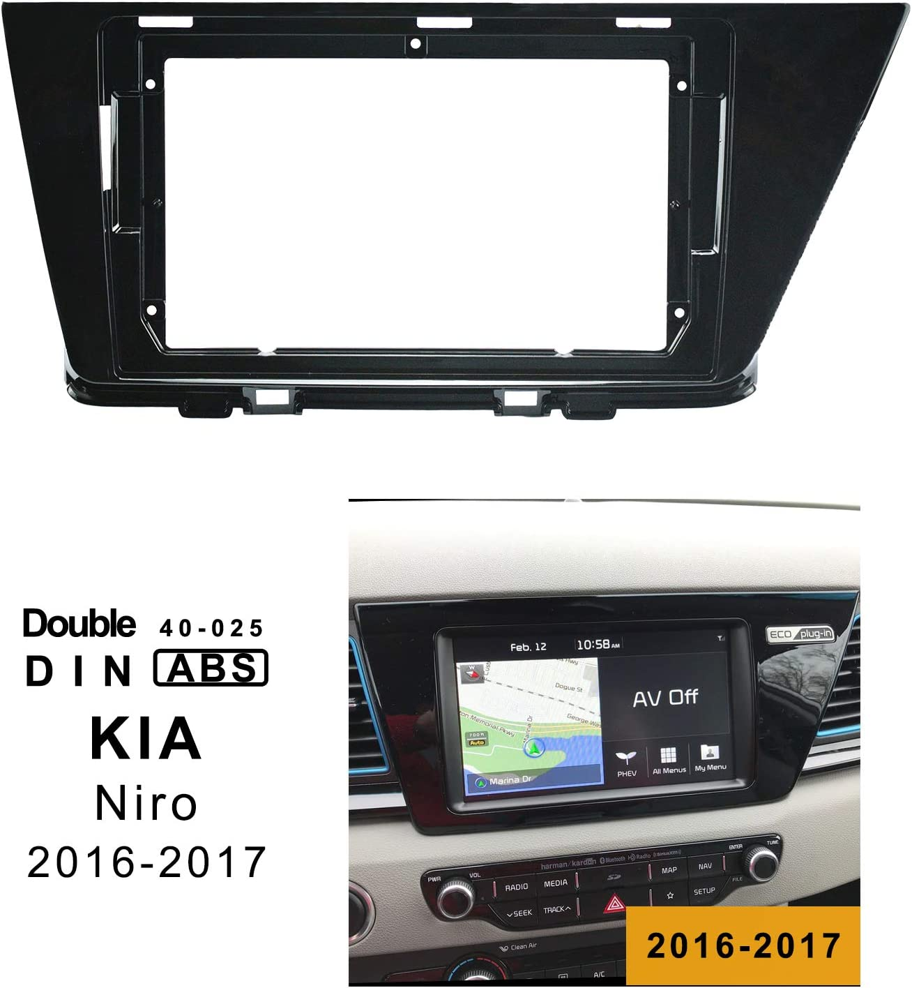 LEXXSON Car Radio In-Dash Mounting Frame Radio Installation Fascia for 9 inch Car Stereo Car Radio Frame for Kia NIRO 2016-2018