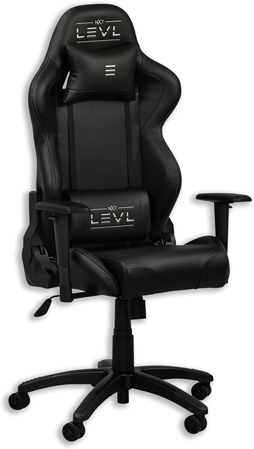 NXT LEVL Gaming Alpha Series Gaming Chair,Office Chair, Heavy Duty, with Neck and Lumbar Pillows Medium, Black Black