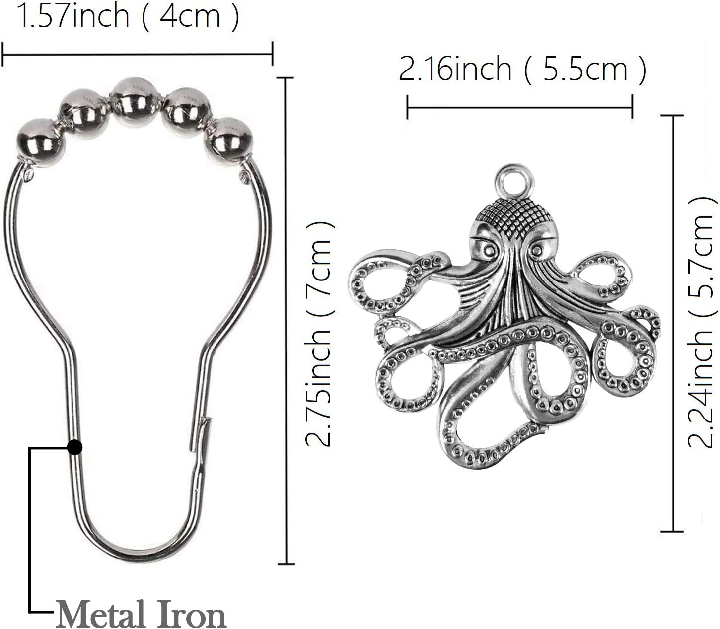 Black ZILucky Set of 12 Octopus Shower Curtain Hooks Decorative Home Bathroom Squid Sea Creature Beast Stainless Steel Rustproof Brushed Nickel Rings with Octopus Decorative Accessories